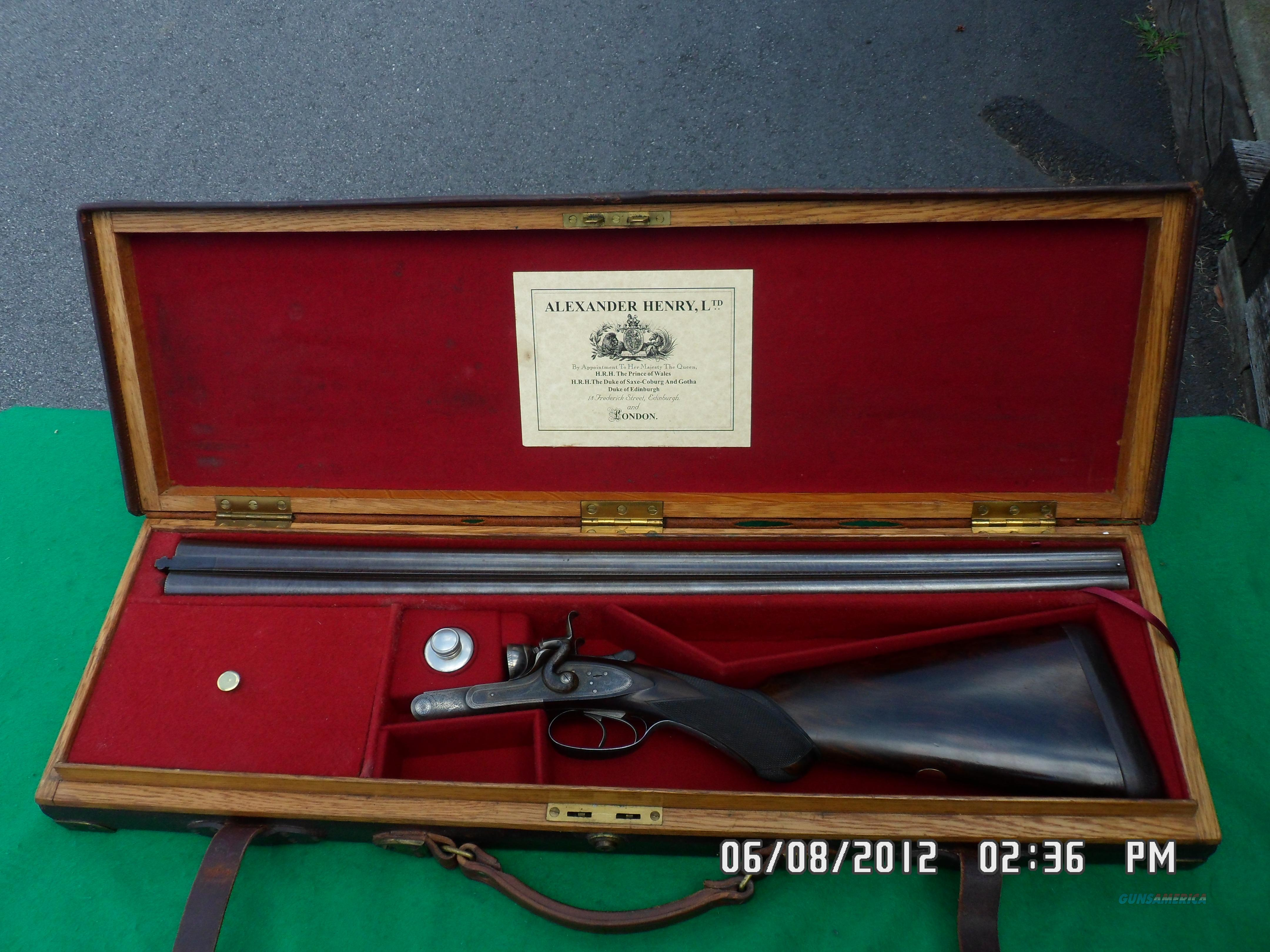 ALEX HENRY BAR ACTION SIDELOCK DOUBLE 12 BORE SHOTGUN 1880'S IN 98% ORIGINAL CONDITION AND CASED!  Guns > Shotguns > Rigby Shotguns