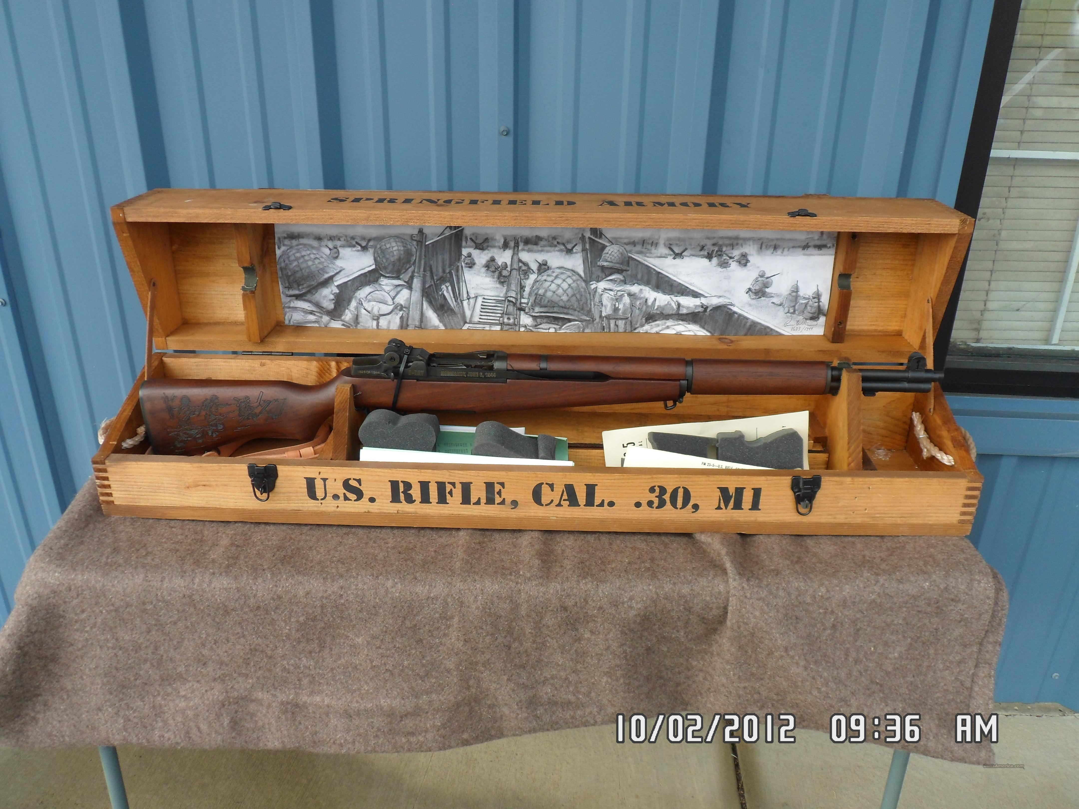 SPRINGFIELD D-DAY COMMEMORATIVE M1 GRAND RIFLE 30-06 CAL IN WOOD COLLECTORS BOX ,LIKE NEW  Guns > Rifles > Springfield Armory Rifles > M1 Garand
