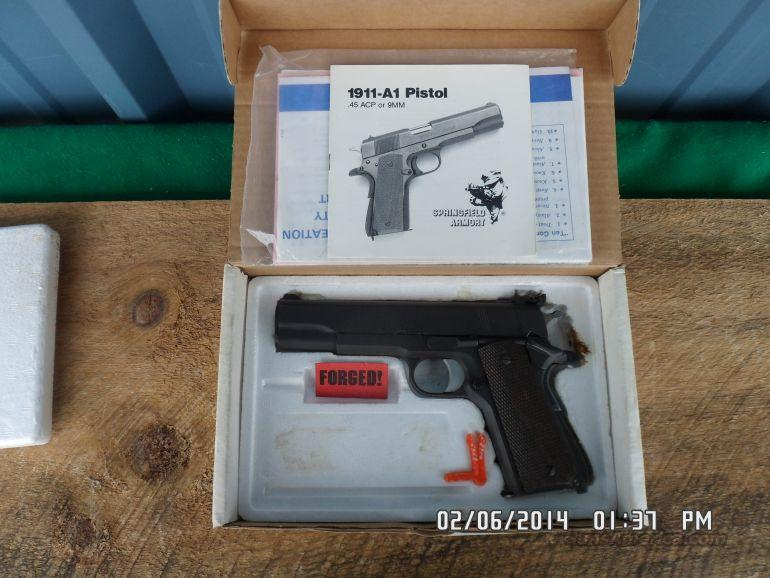 SPRINGFIELS ARMORY 1911-A1 90'S EDITION 45 ACP PISTOL WITH ORIG.BOX AND PAPERS.99%  Guns > Pistols > Springfield Armory Pistols > 1911 Type