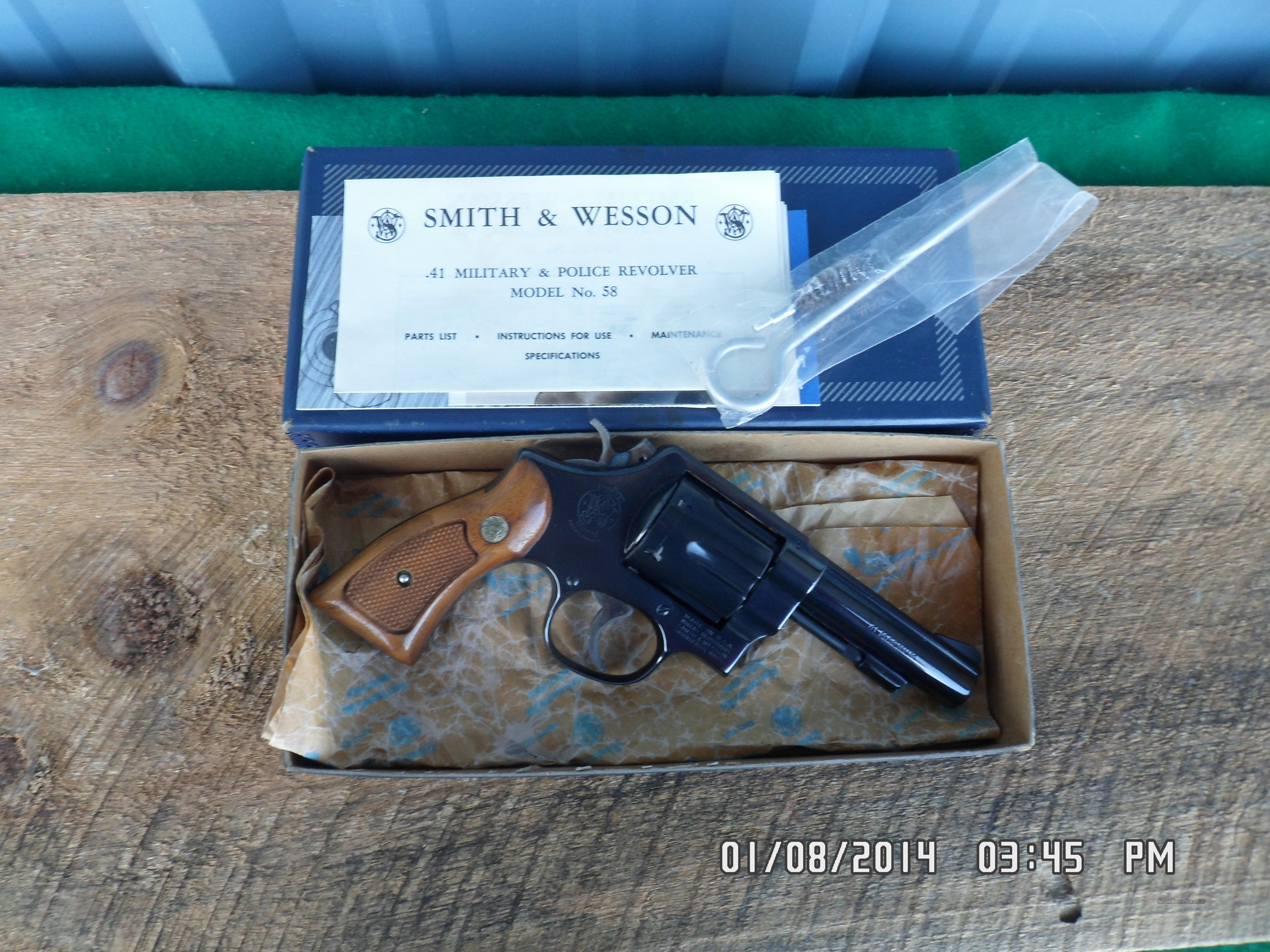 SMITH & WESSON MODEL 58, 41 MAGNUM MILITARY & POLICE REVOLVER, NEW IN ORIGINAL BOX W/ PAPERWORK. 1975  Guns > Pistols > Smith & Wesson Revolvers > Full Frame Revolver