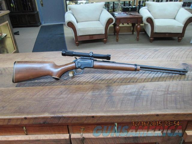 MARLIN 39-D (MFG.1971-1973 ONLY) 22 S,L,L.R. LEVER CARBINE JM MARKED AND HAS LIKE NEW PERIOD BUSHNELL 3X8 VARI SCOPECHEIF MOUNTED.ALL 99% PLUS  Guns > Rifles > Marlin Rifles > Modern > Lever Action