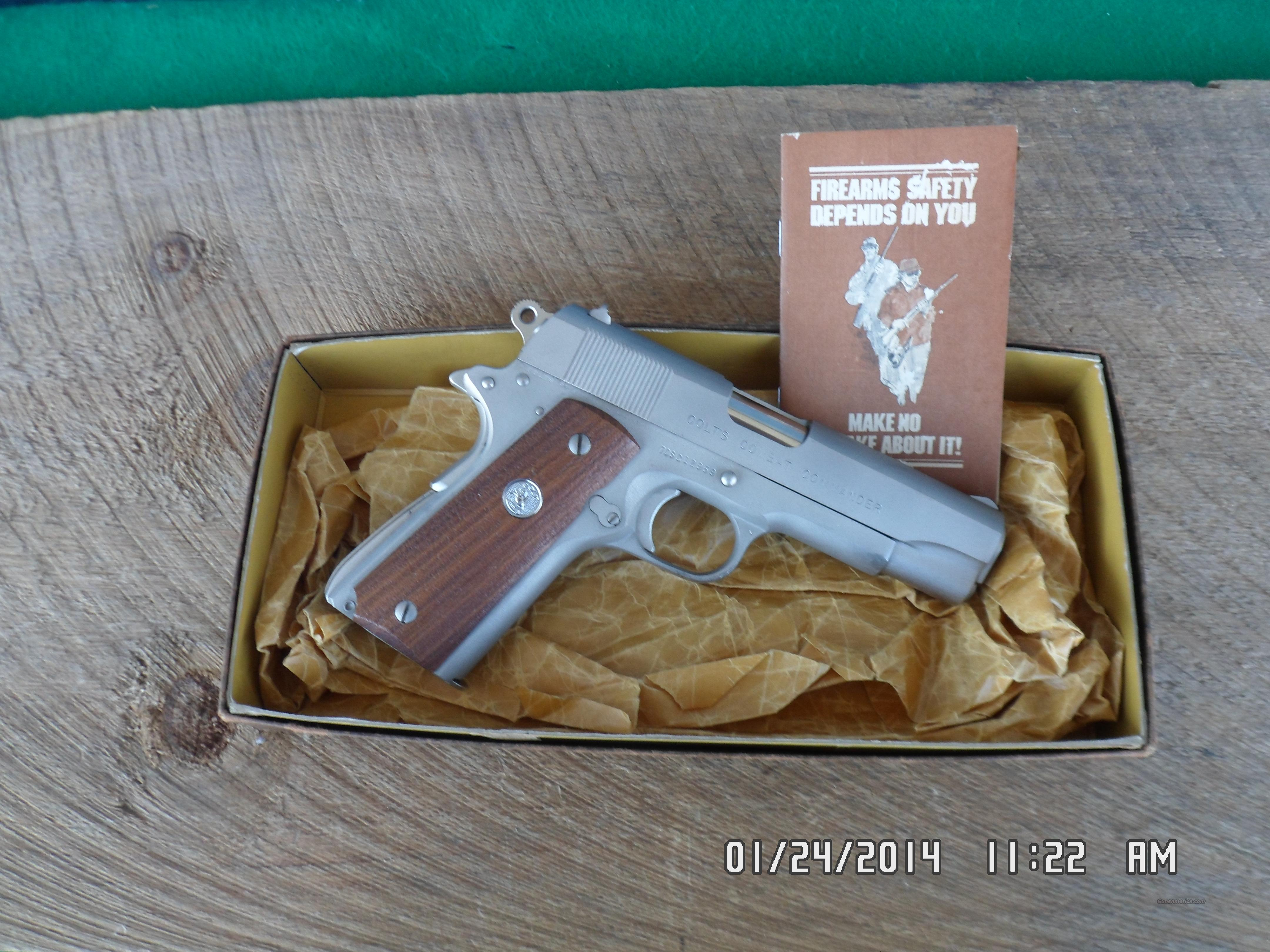 COLT 1911 COMBAT COMMANDER 45ACP CAL 70 SERIES, FACTORY SATIN BRUSH NICKEL FINISH 99% WITH PERIOD COLT BOX. LOOKS UNFIRED  Guns > Pistols > Colt Automatic Pistols (1911 & Var)
