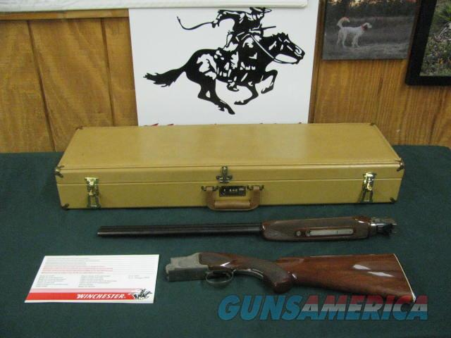 6879 Winchester 101 Pigeon 20 gauge 27 inch barrels, skeet, coin silver rose scroll engraved receiver, ejectors, pistol grip, Winchester butt plate, Winchester case, Winchester Pamphlet, 98% condition from West Texas collection. opens/close  Guns > Shotguns > Winchester Shotguns - Modern > O/U > Hunting