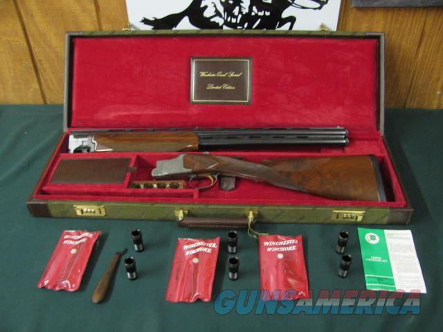 6648 Winchester Quail Special 20gauge, 25 inch barrels, 3inch chambers,8 winchokes 2sk,2ic, 2mod, 2full, 3choke pouches, wrench,snap caps,STRAIGHT GRIP,CORRECT Winchester Case,only 500 made,AAA+Fancy figured Walnut, coin silver dog quail   Guns > Shotguns > Winchester Shotguns - Modern > O/U > Hunting