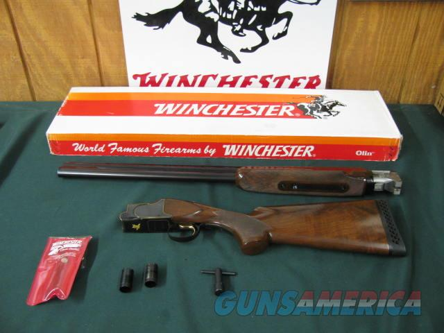 6545 Winchester 101 American Flyer Live Bird 12 gauge 28 inch barrels, top bl is extra full, bottom barrel screw chokes mod/full wrench pouch,vent rib, ejectors,pistol grip,Winchester butt pad, correct Winchester serialized box. lustrous bl  Guns > Shotguns > Winchester Shotguns - Modern > O/U > Hunting