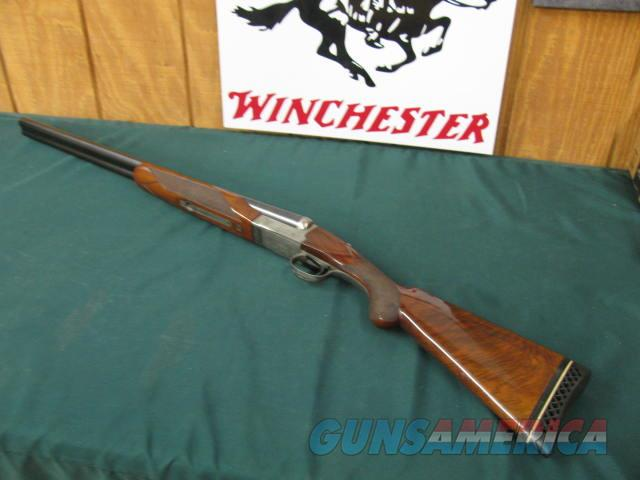 6303 Winchester model 23 Pigeon XTR 12 gauge 26 inch barrels ic/mod, 3 inch chambers, vent rib, single select trigger ejectors, Pachmeyer pad lop 14 1/4  98% condition AA++Fancy figured walnut.coin silver engraved rose and scroll, opens and  Guns > Shotguns > Winchester Shotguns - Modern > SxS