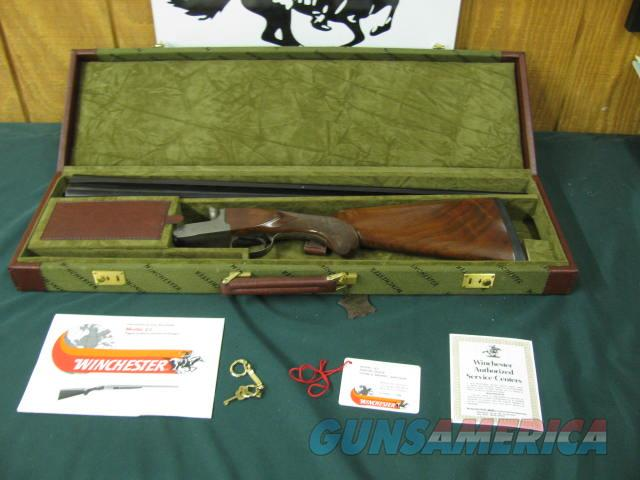 6538 Winchester 23 Pigeon XTR 12 gauge 28 inch barrels mod/full vent rib ejectors, round knob, Winchester butt pad,beavertail, coins silver rose and scroll engraving. all original 99% condition, Winchester correct case. bores brite shiny, s  Guns > Shotguns > Winchester Shotguns - Modern > SxS