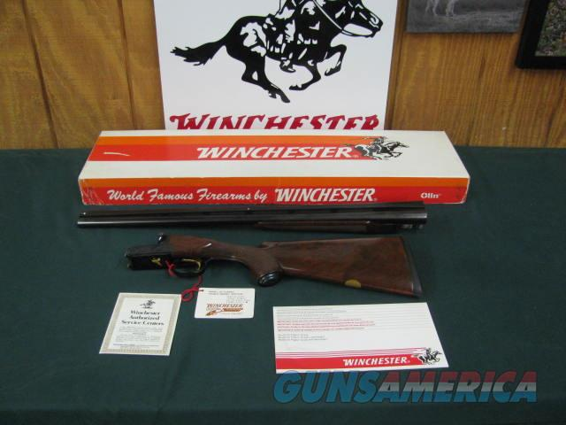 6804 Winchester 23 Classic 12 gauge 26 inch barrels, 2 3/4& 3 inch chambers, ejectors, vent rib, pistol grip with cap, Winchester butt pad, GOLD RAISE RELIEF PHEASANT ON BOTTOM OF RECEIVER, all papers hang tag etc.correct serialized box to   Guns > Shotguns > Winchester Shotguns - Modern > SxS