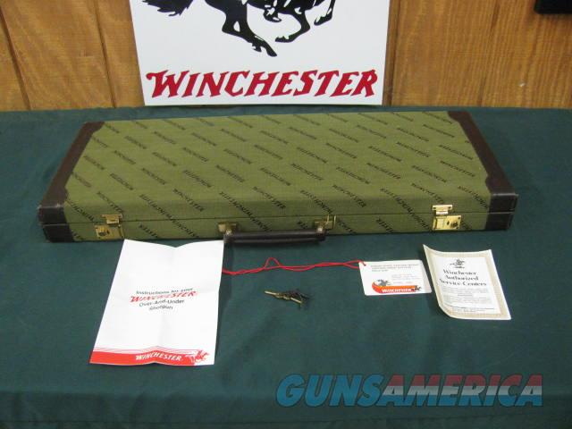 6830 Winchester 101 Pigeon FEATHERWEIGHT 20 gauge 26 barrels, ic/mod, vent rib ejectors,STRAIGHT GRIP, Wincheter pad,Quail/birds coin silver engraved receiver,Winchester cased, HANG TAG,papers,keys, Time capsule survivor, Featherweights wer  Guns > Shotguns > Winchester Shotguns - Modern > O/U > Hunting