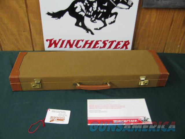 6741  Winchester Golden Quail 20 gauge 26 barrels m/f solid rib ejectors, single select trigger, Winchester pad,all original, Quail/dogs engraved coin silver receiver,99.9% condition,AS NEW IN CASE, pamphlet,HANG TAG. #90 out of 500. AAA++F  Guns > Shotguns > Winchester Shotguns - Modern > SxS