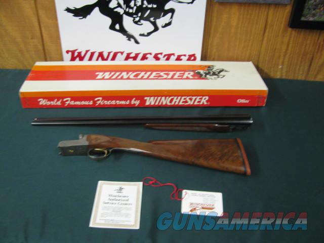 6714 Winchester 23 Golden Quail 410 gauge 26 inch barrels 3 inch chambers, mod/full, solid rib, STRAIGHT GRIP, Winchester butt pad, ejectors, beavertail forend,single select trigger, dog/quail engraved coin silver receiver, solid rib, as ne  Guns > Shotguns > Winchester Shotguns - Modern > SxS