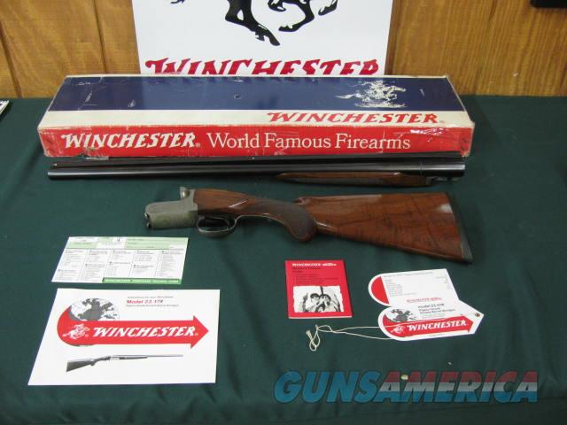 6350 Winchester Pigeon XTR 12 gauge 28 inch barrels,3 inch chambers, Round knob, ejectors, single select trigger, vent rib, Winchester butt pad, all original, AA++Fancy figured Tiger striped walnut, in correct serialized Winchester box, all  Guns > Shotguns > Winchester Shotguns - Modern > SxS