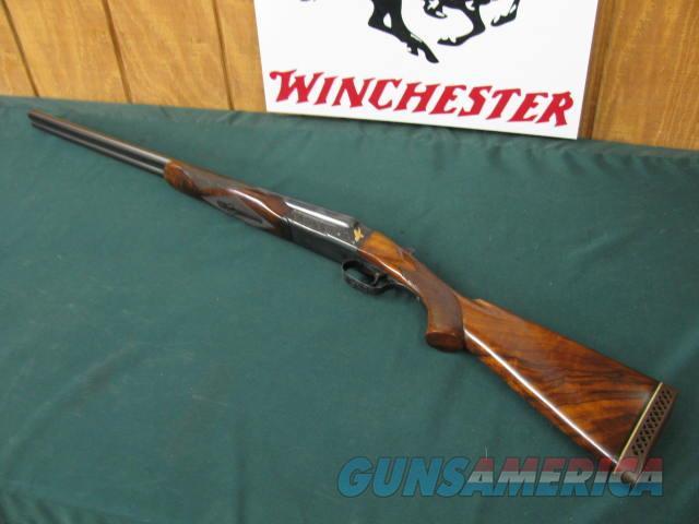 6278 Winchester 21 20 gauge 26 inch barrels 2 3/4 chambers, beavertail forend single select trigger,vent rib ejectors pistol grip Pachmayr pad  1 1/2 x 2 1/2 x 14, 6 1/2 lbs,s/n2697x,2 raised relief gold quail,heavy Nietzsche style engraved  Guns > Shotguns > Winchester Shotguns - Modern > SxS