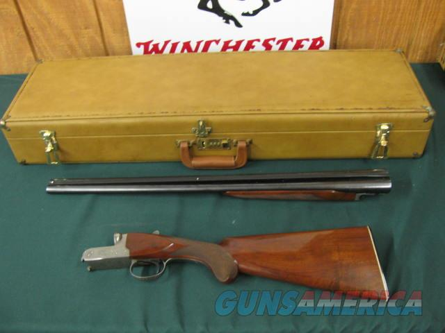 6397 Winchester 23 Pigeon XTR 20 gauge 26 inch barrels, ic/mod, vent rib, single select trigger, ejectors, round knob, Winchester butt plate, all original, 99% condition, correct Winchester case. 3 inch chambers and 2 3/4. A+ Walnut. opens   Guns > Shotguns > Winchester Shotguns - Modern > SxS