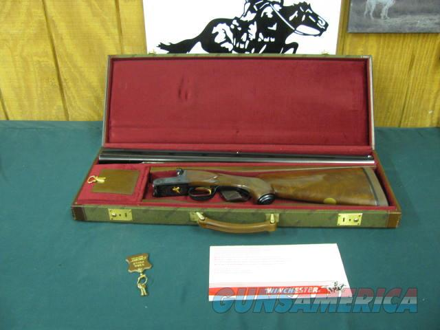6090 Winchester 23 Classic 12 gauge 26 inch barrels, ic/mod, vent rib ejectors, pistol grip with cap,decelerator pad,lop 15, 99% conditon, AA fancy walnut figure in stock and forend, correct Winchester case and keys and pamplet.locks and op  Guns > Shotguns > Winchester Shotguns - Modern > SxS