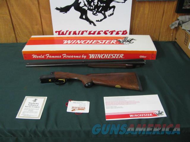 6701 Winchester 23 Classic 410 gauge 26 barrels, mod/full, pistol grip with cap, vent rib, single select trigger, ejectors, Winchester butt pad, CORRECT WINCHESTER BOX HANG TAG/PAPERS,--GOLD RAISED RELIEF QUAIL bottom receiver, never shot,   Guns > Shotguns > Winchester Shotguns - Modern > SxS