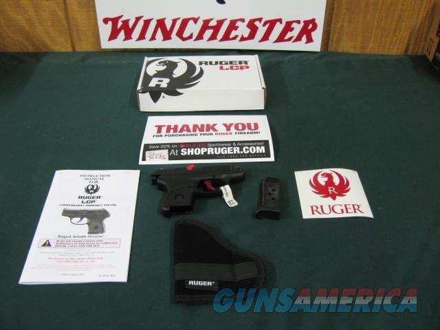 6118 Ruger LCP-C Custom 380 caliber 2.75 inch barrel, 6 round magazine, Matt Black finish, extended finger grip on bottom of mag,gun rug,wide red aluminum skeleton trigger.smooooth pull,custom model,steel guide rod, 9.75 ounces, NEW IN BOX   Guns > Pistols > Ruger Semi-Auto Pistols > LCP