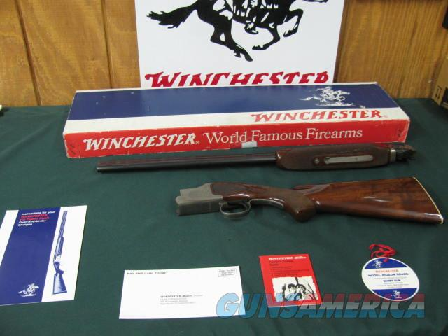 6541 Winchester 101 Pigeon XTR 20 gauge 27 inch barrels, 2 3/4 chambers, skeet/skeet, test fired only, 99% AS NEW IN BOX, all papers, hang tag,pamphlets, correct Winchester serialized box to the gun. dark walnut and diamond tipped engraving  Guns > Shotguns > Winchester Shotguns - Modern > O/U > Hunting