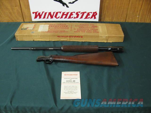 6735 Winchester 62  22 short long long rifle, Winchester correct box,all box innards paper dividers, Winchester pamphlet,99% condition,excellent very high condition rifle from private collection. the BEST ONE i have had. dont miss this one.  Guns > Rifles > Winchester Rifles - Modern Pump