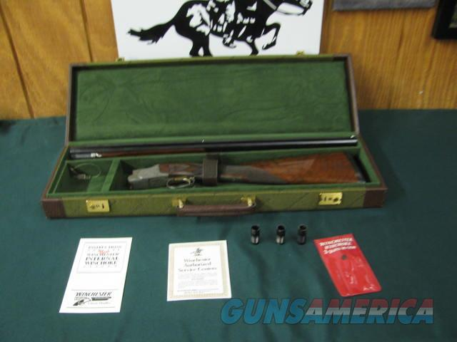 6716 Winchester 101 Quail Special 28 gauge 26 barrels sk ic mod Winchokes,pouch, keys, vent rib, quail,dogs engraved coin silver receiver, STRAIGHT GRIP, Winchester pad,ejectors, all original, from West texas collection, 3 Winchester papers  Guns > Shotguns > Winchester Shotguns - Modern > O/U > Hunting