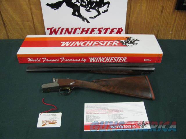 6742 Winchester 23 Golden Quail 12 gauge 26 inch barrels, ic/im,STRAIGHT GRIP,Winchester butt pad, correct serialized box, HANG TAG,98% condition, brochure,solid rib, single select trigger, ejectors, GOLD RAISE RELIEF QUAIL HEAD ON BOTTOM O  Guns > Shotguns > Winchester Shotguns - Modern > SxS