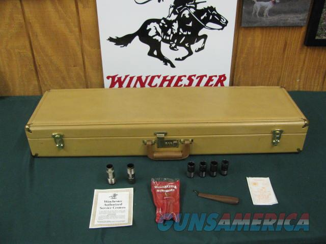 6772 Winchester 101 Waterfowler 12 gauge rare 32 inch barresl 6 screw chokes 3 ic, im mod, exfull,wrench,Wincester pouch, winchester papers, Correct Winchester case.vent rib, ejectors, all original 99%, Geese and Ducks engraved on blue rece  Guns > Shotguns > Winchester Shotguns - Modern > O/U > Hunting