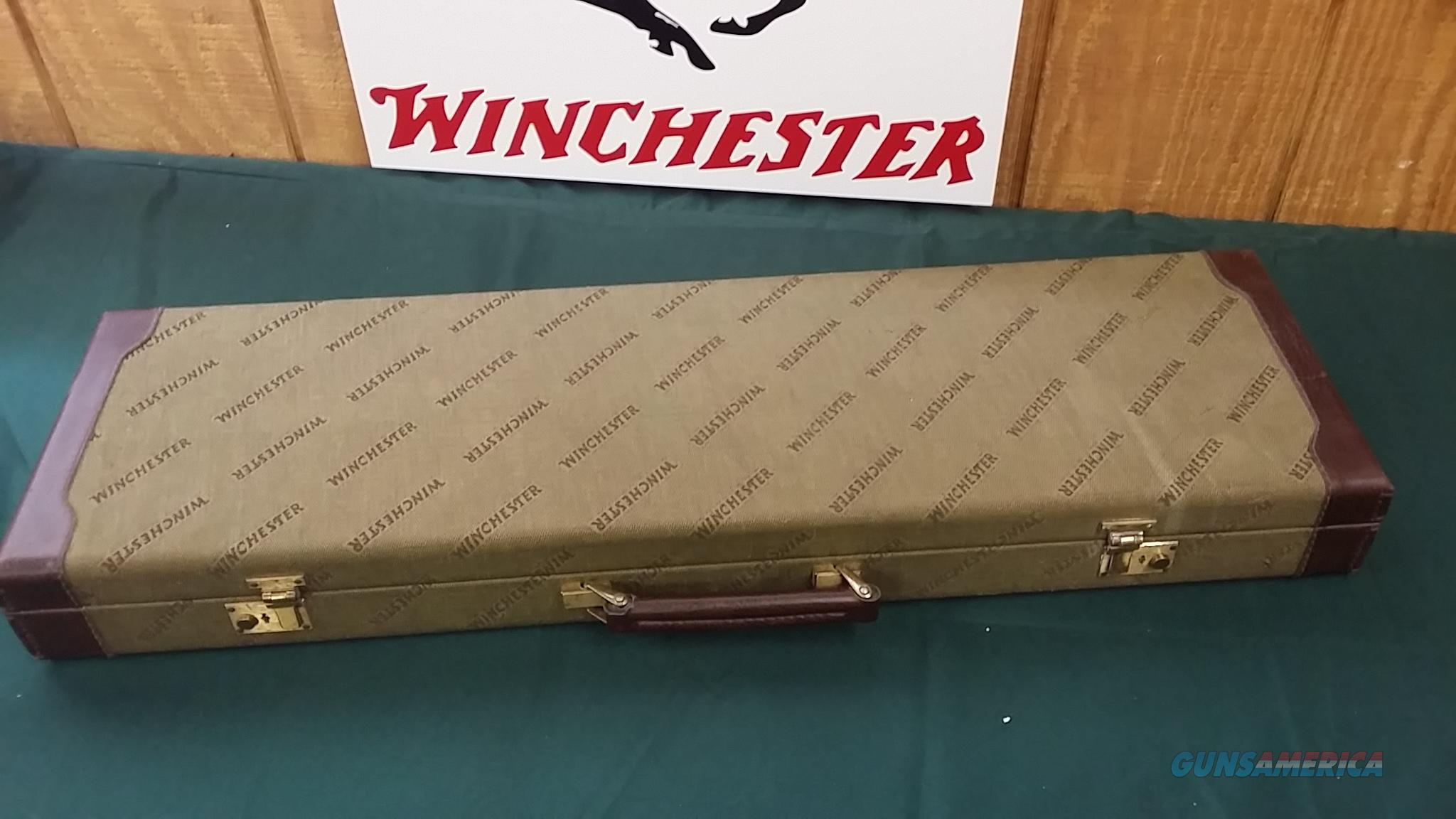 4738  Winchester green hard shotgun case with leather sides. Has the keys, luggage tag and extra blocks  Non-Guns > Gun Cases