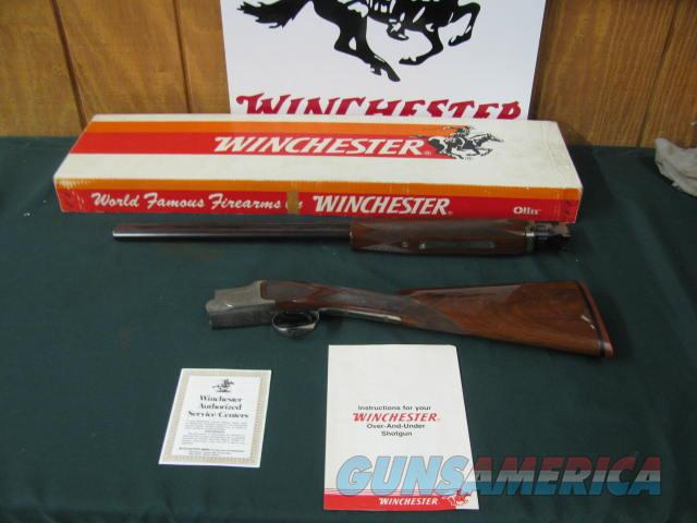 6697 Winchester 101 Pigeon XTR FEATHERWEIGHT 20 gauge 26 inch barrels, 2 3/4 &3 inch chambers ic/mod STRAIGHT GRIP, all original, vent rib ejectors single trigger Winchester butt pad correct Winchester correct box, papers, as new in box at  Guns > Shotguns > Winchester Shotguns - Modern > O/U > Hunting