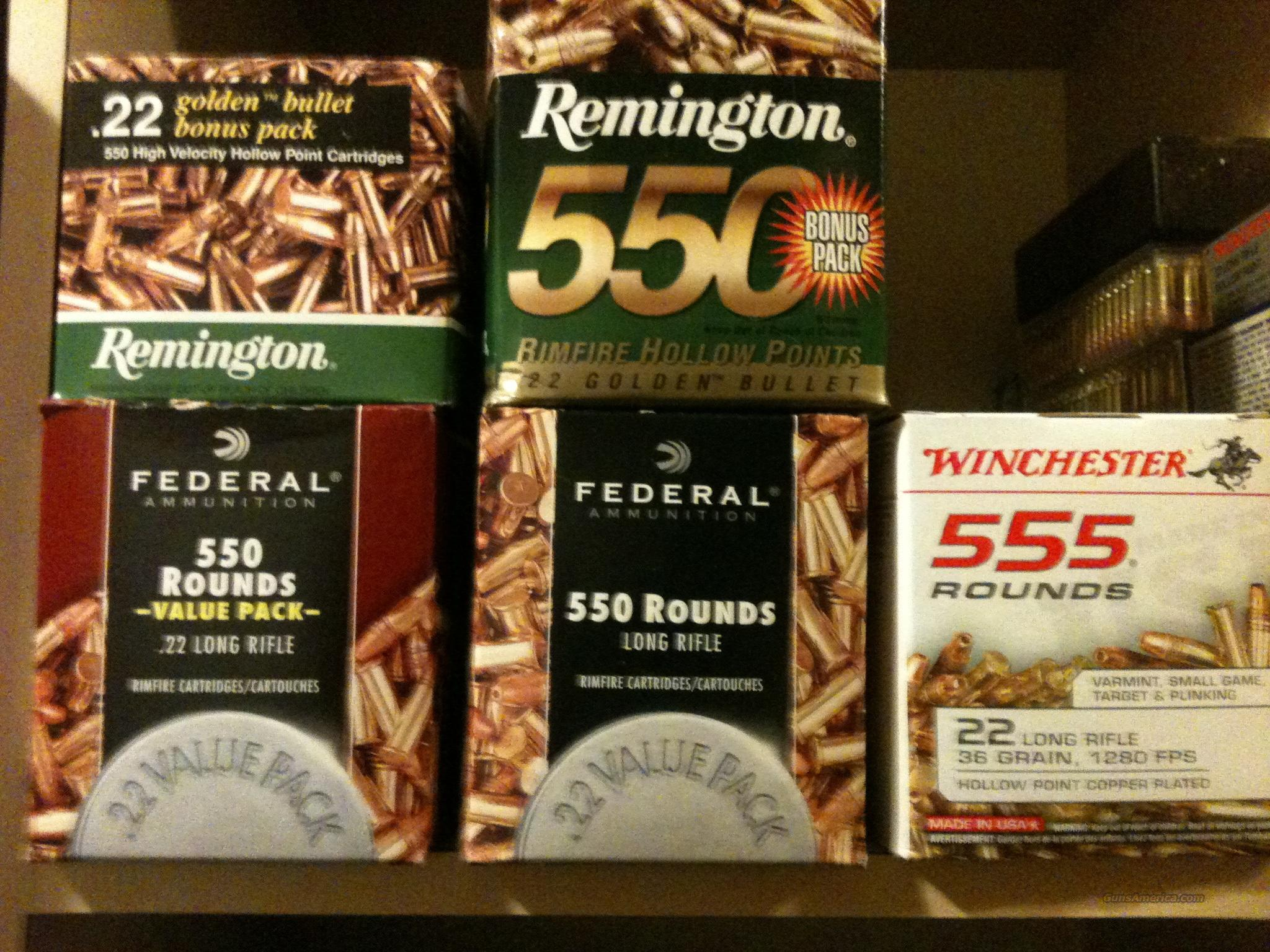 22 caliber ammunition (brick of 550 rounds)  Non-Guns > Ammunition