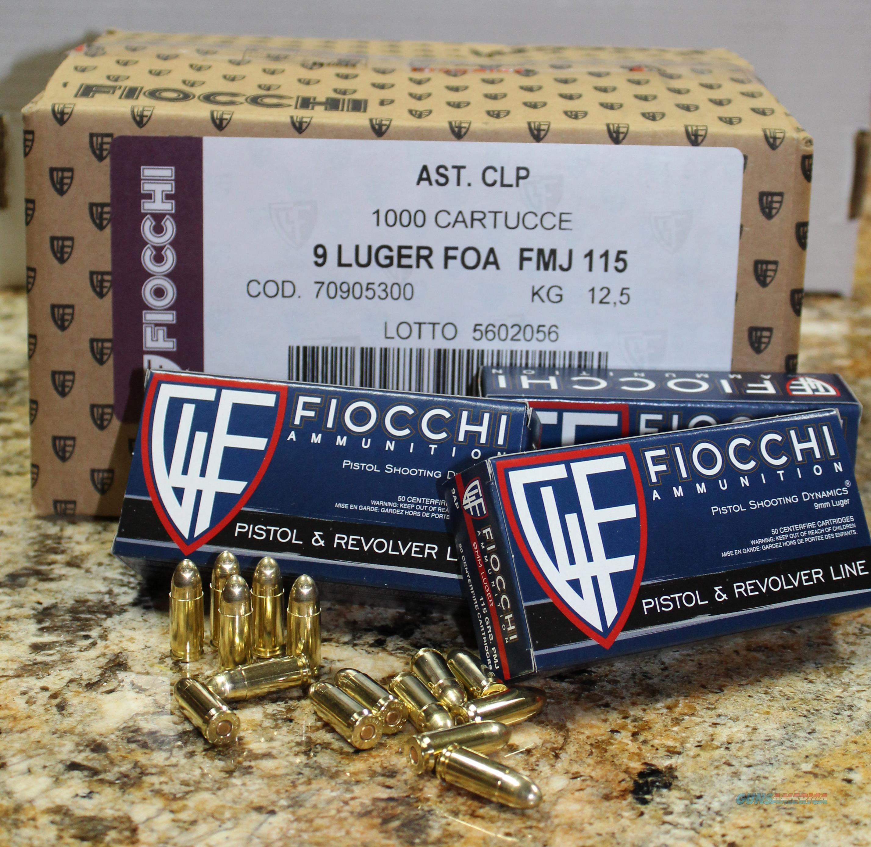 FIOCCHI SHOOTING DYNAMICS 9MM 115 GRS FMJ 1000 ROUND CASE  Non-Guns > Ammunition