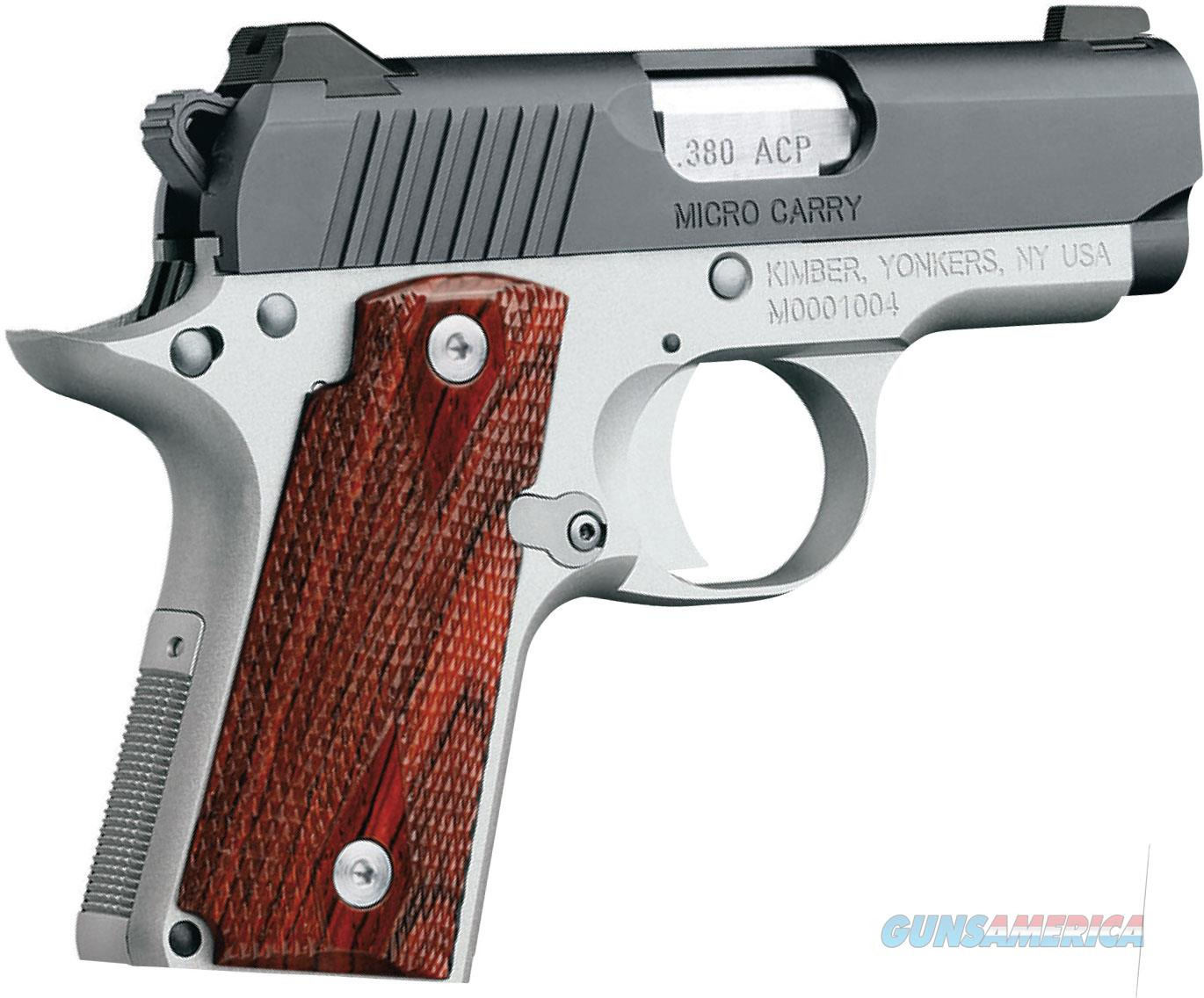 KIMBER MICRO 380 AUTO CHECKERED ROSEWOOD GRIPS TWO TONE NEW IN BOX  Guns > Pistols > Kimber of America Pistols