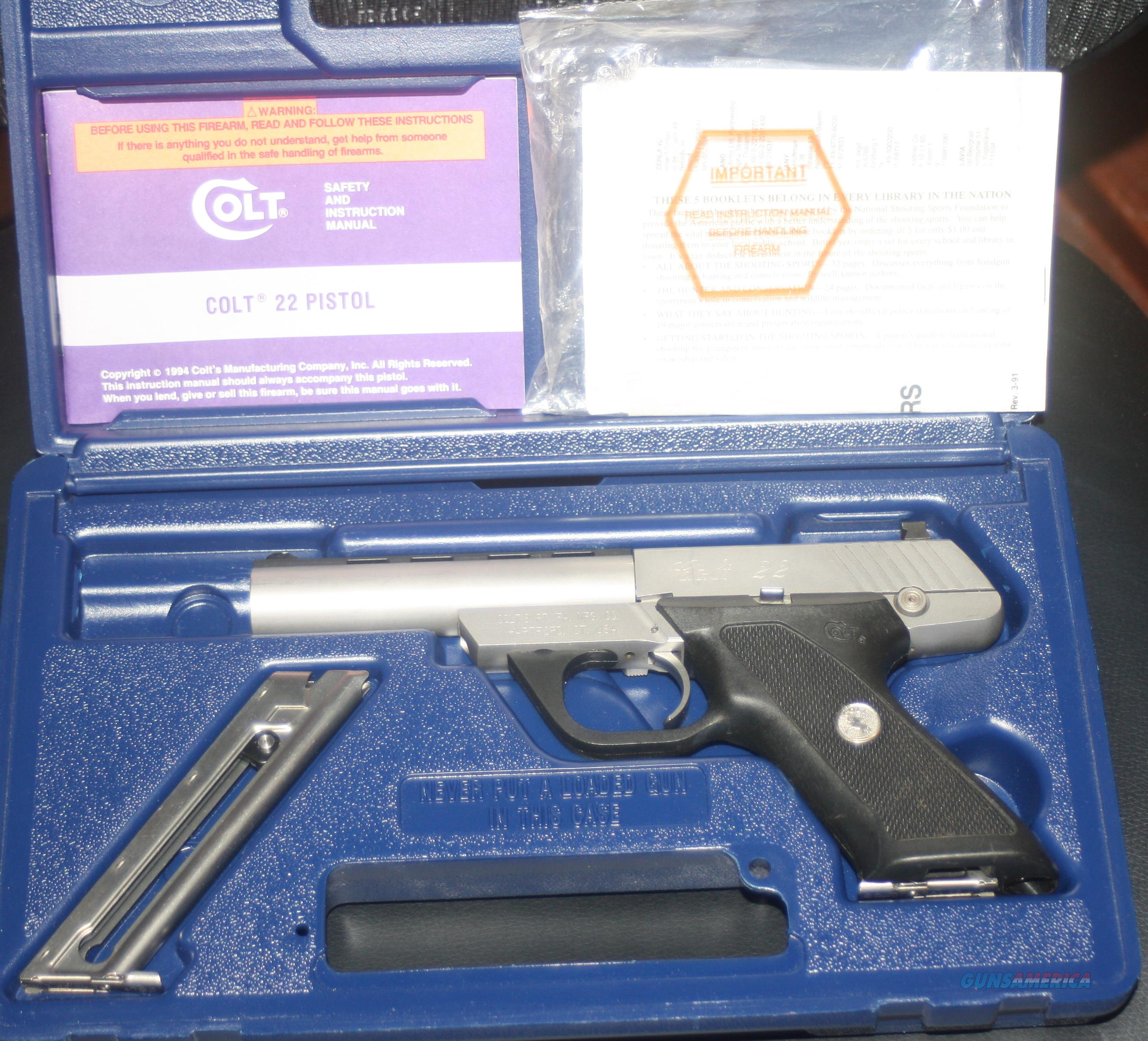 COLT 22 STAINLESS STEEL 22 LR PISTOL IN BOX WITH OWNERS MANUAL  Guns > Pistols > Colt Automatic Pistols (22 Cal.)