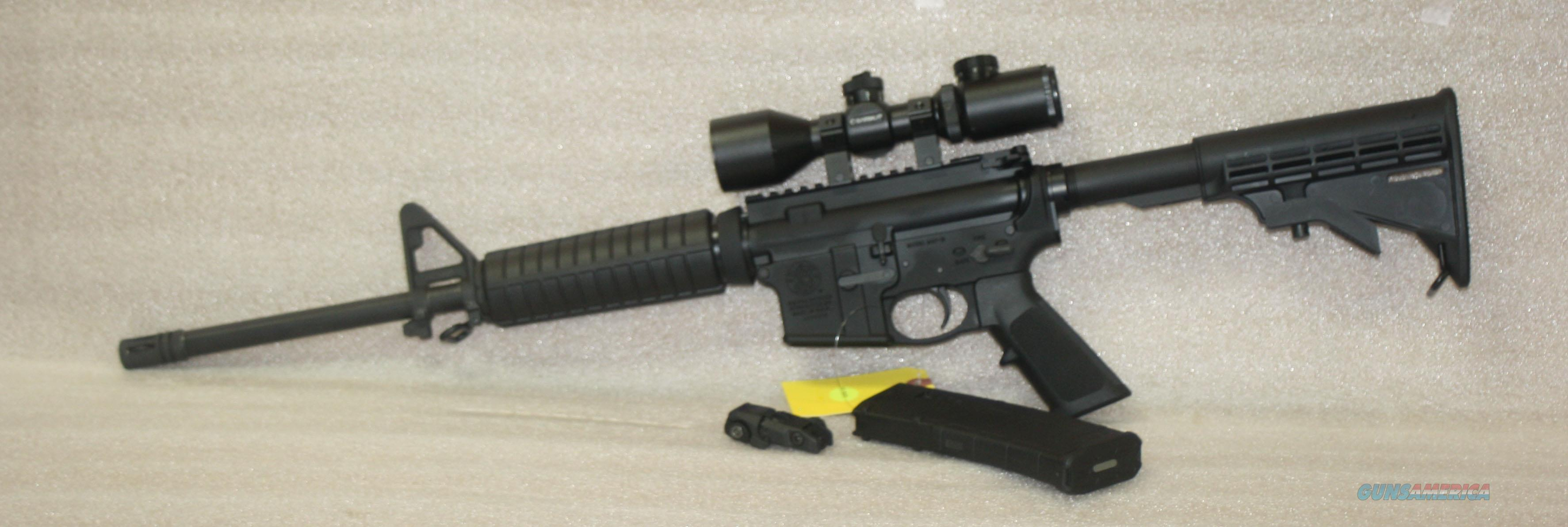 SMITH & WESSON M&P 15 SPORT 223/5.56 WITH BARSKA COMPACT 3-9 WITH ILLUMINATED RETICLE ALL LIKE NEW   Guns > Rifles > Smith & Wesson Rifles > M&P