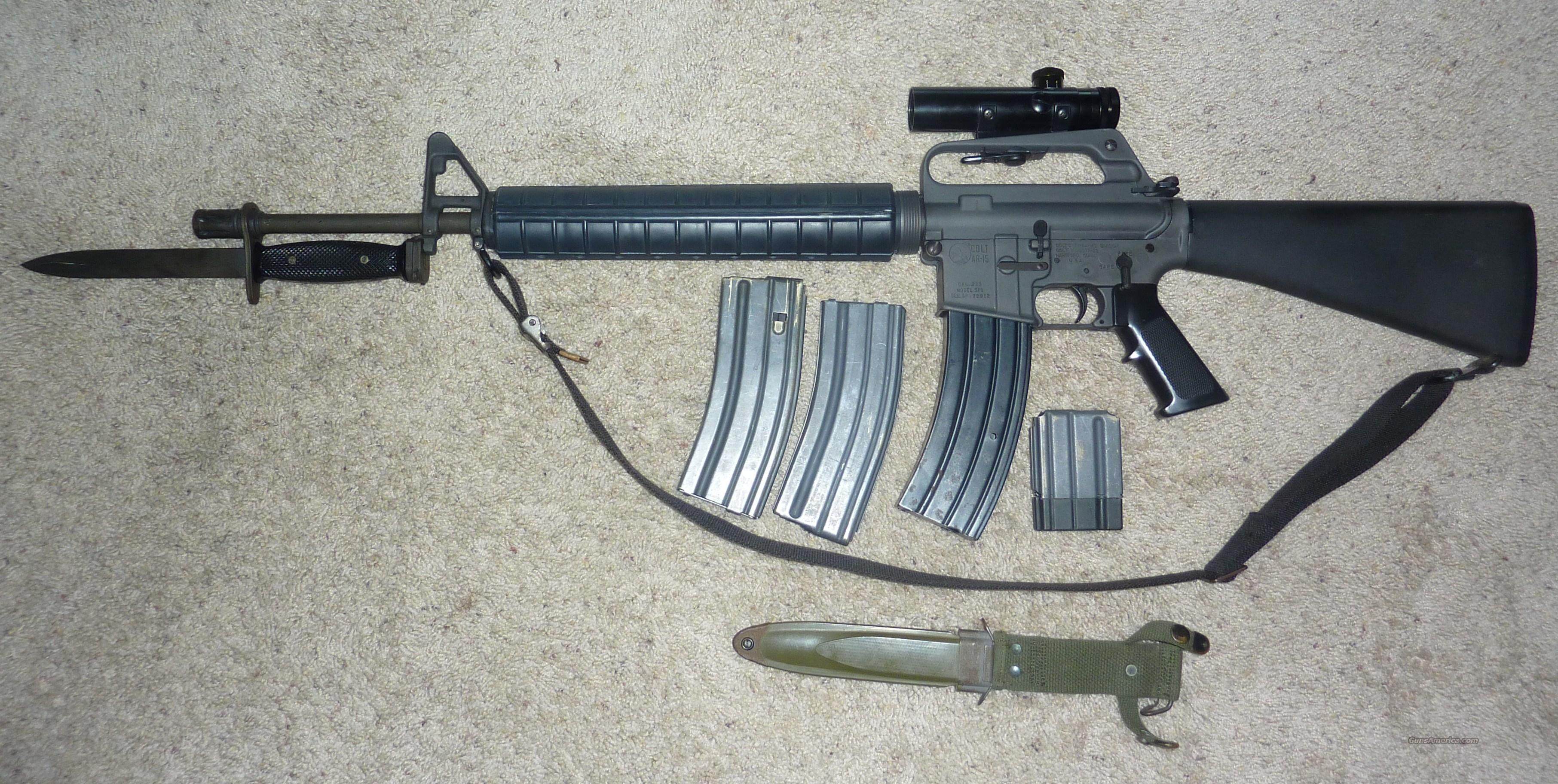 Colt SP-1 AR15 with bayonet, scope  and extra mags  Guns > Rifles > Colt Military/Tactical Rifles