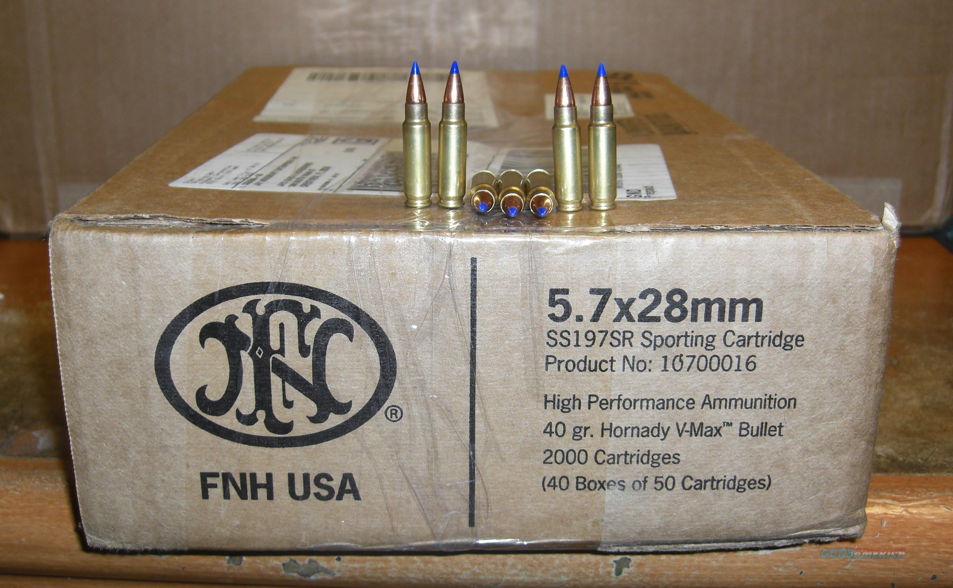 2000 rds FNH 5.7x28mm made by Hornady  40 gr. V-Max bullet  FREE SHIPPING  Non-Guns > Ammunition