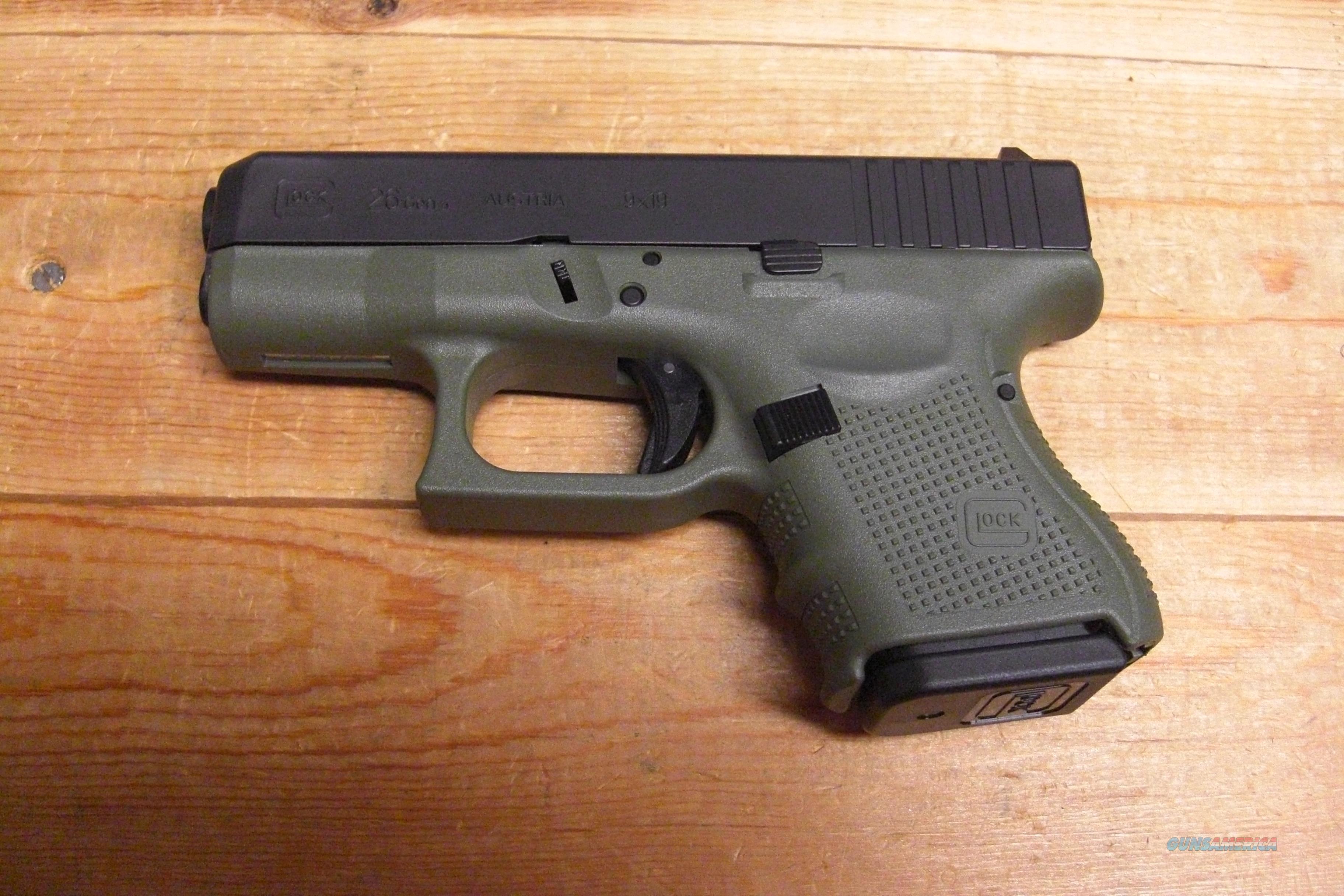 Glock 26 Gen 4 w/Battlefield green frame, three... for sale