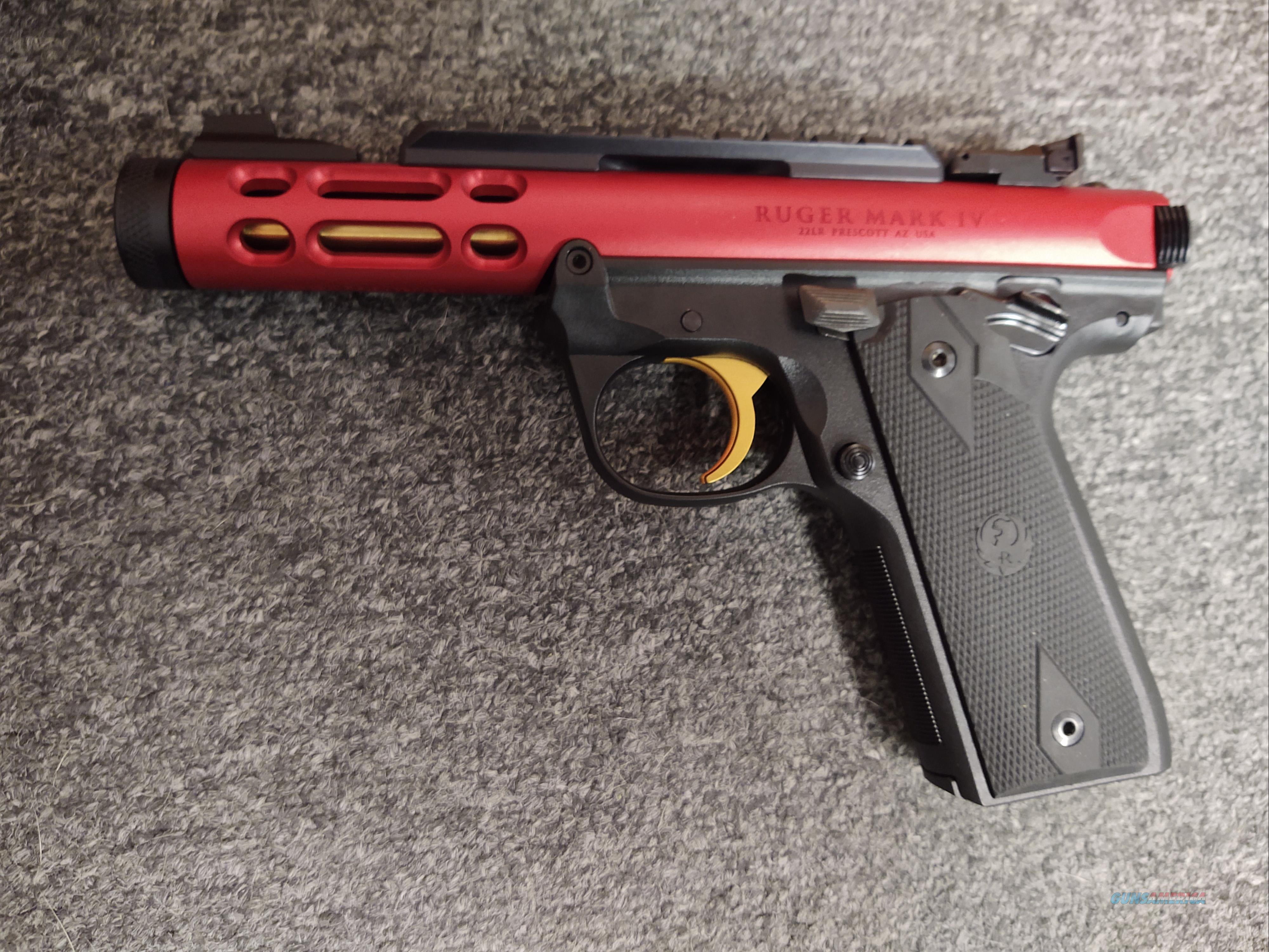 Mark IV 22/45 Lite (.22lr, red & black)  Guns > Pistols > Ruger Semi-Auto Pistols > Mark I/II/III/IV Family