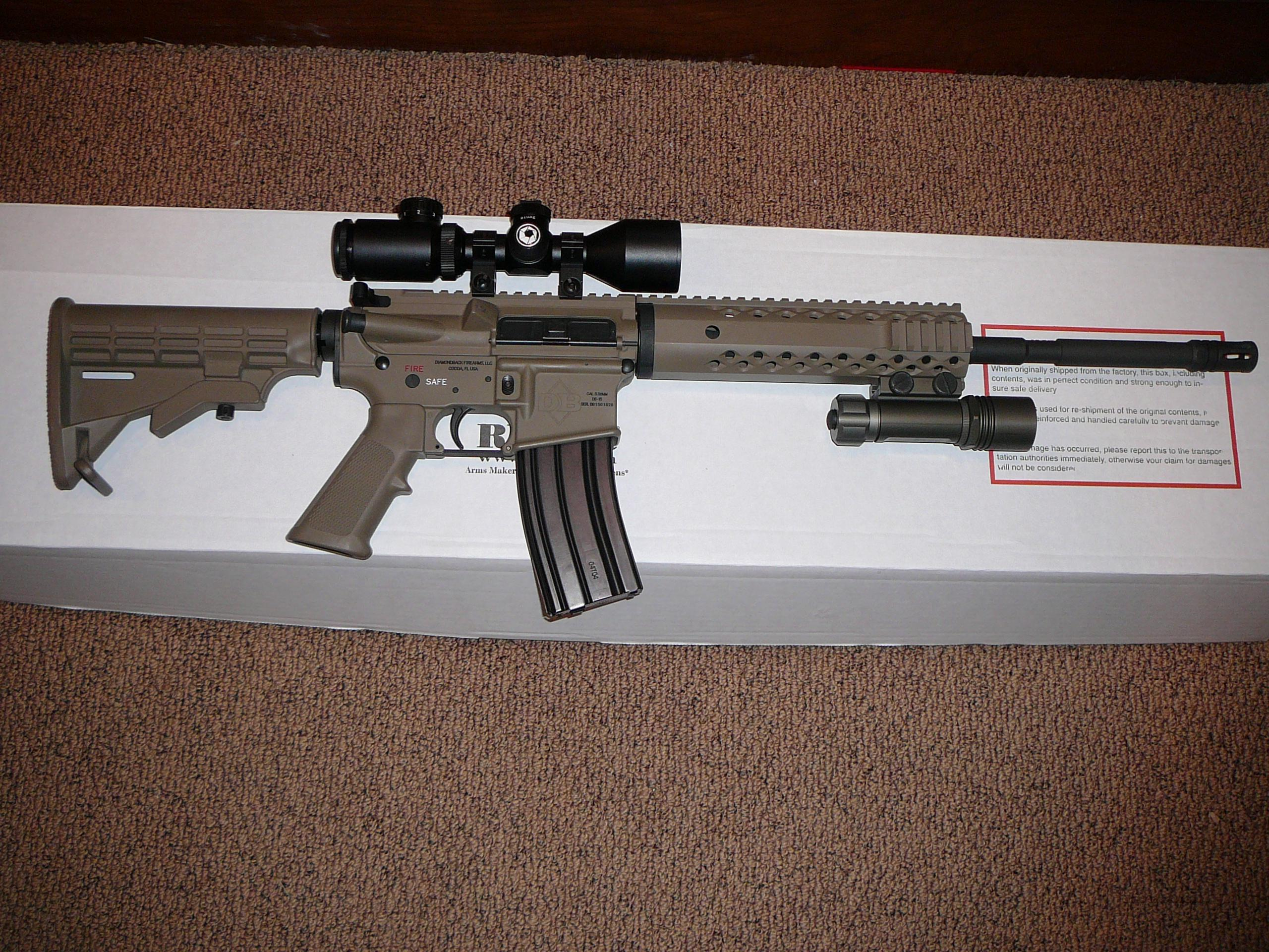 DIAMONDBACK DARK EARTH 5.56/.223 SEMI-AUTO RIFLE WITH SCOPE AND LITE  Guns > Rifles > DPMS - Panther Arms > Complete Rifle