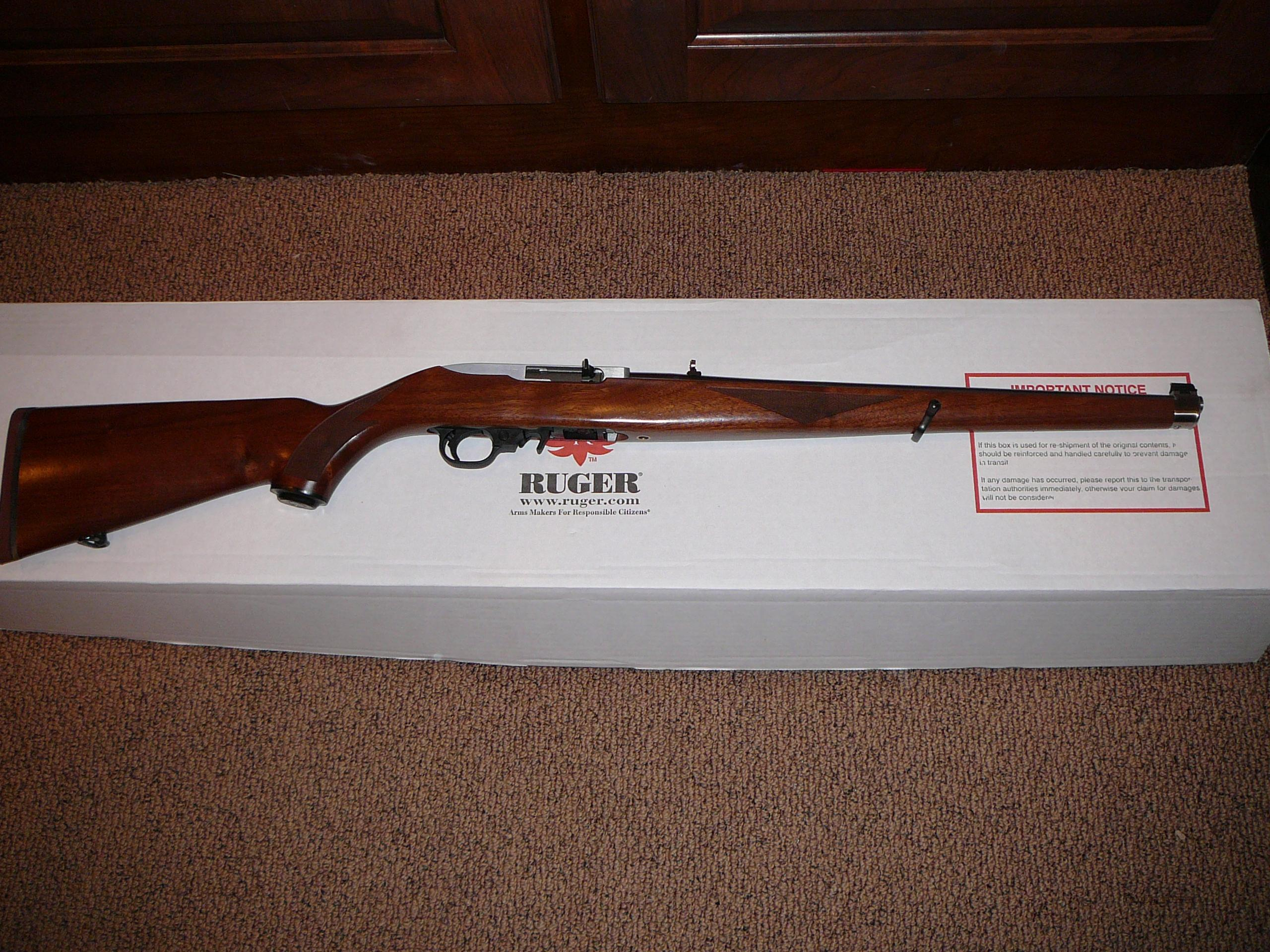 RARE!!  RUGER 10/22  STAINLESS WALNUT MANNLICHER .22 CAL. SEMI-AUTO RIFLE  Guns > Rifles > Ruger Rifles > 10-22