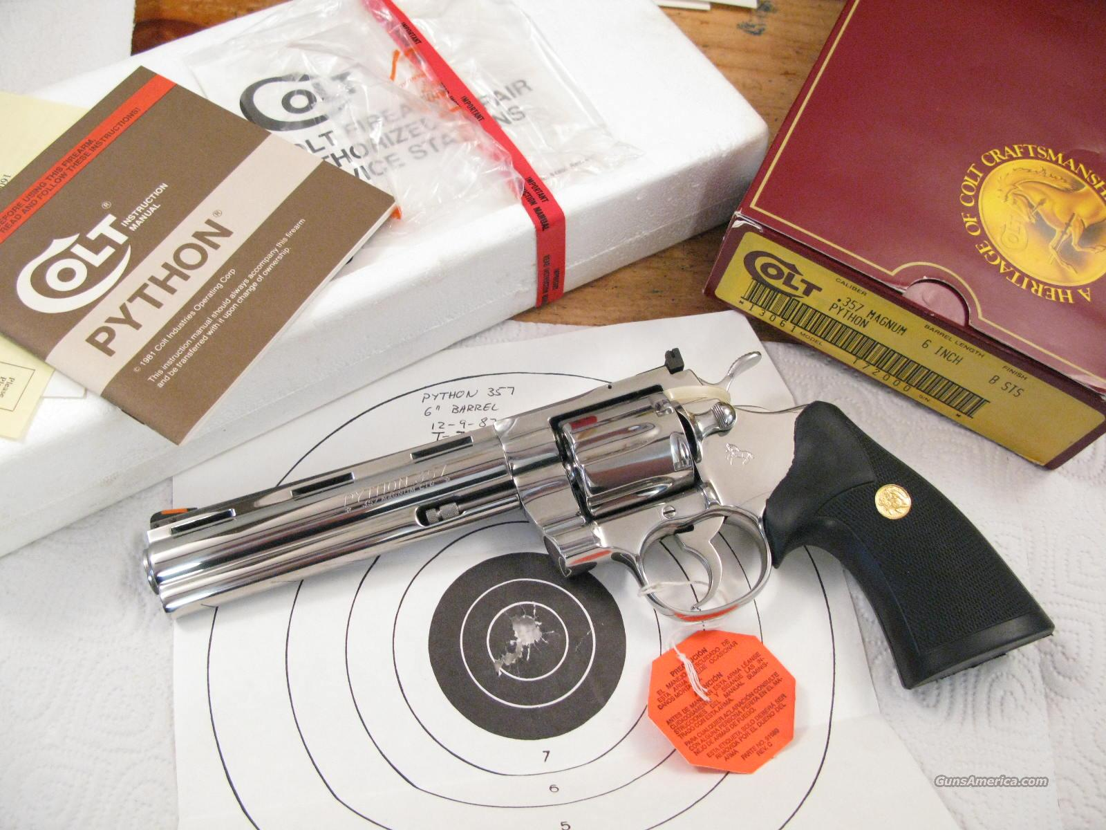 "Colt Python 6""  .357 Magnum Bright Stainless Stone Mint NIB  Guns > Pistols > Colt Double Action Revolvers- Modern"