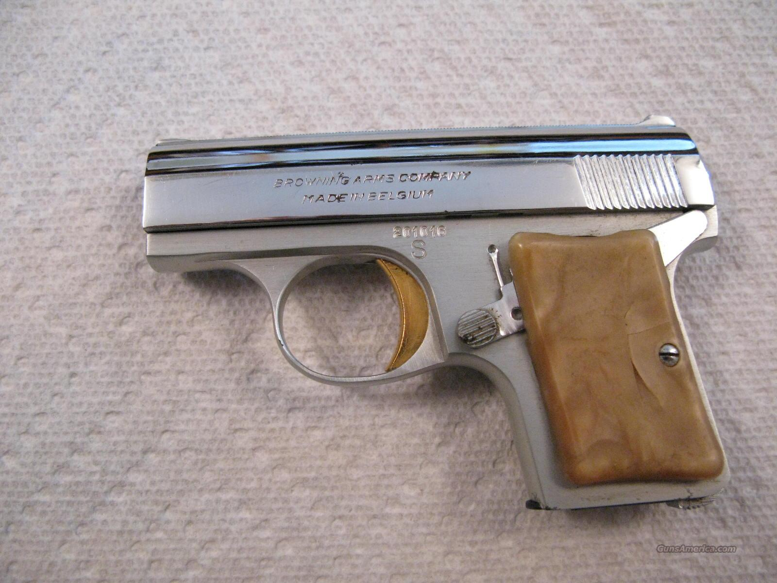 "Browning ""Baby"" .25 ACP Nickel Light Weight  Guns > Pistols > Browning Pistols > Baby Browning"