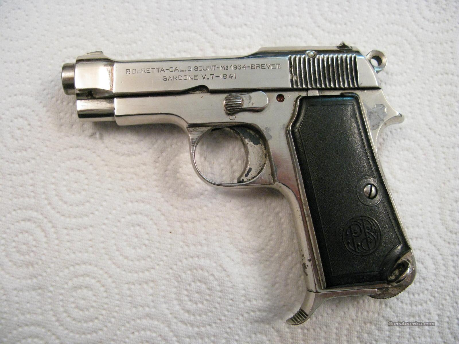 Beretta  M-34 .380 ACP Italian Army From 1941 Nickel  Guns > Pistols > Military Misc. Pistols Non-US