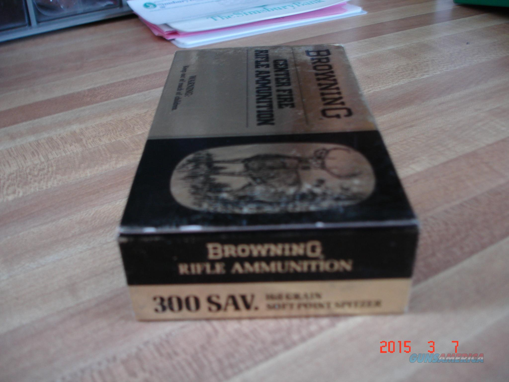 Vintage Browning .300 SAVAGE Ammo 168Gr.SP  Non-Guns > Ammunition