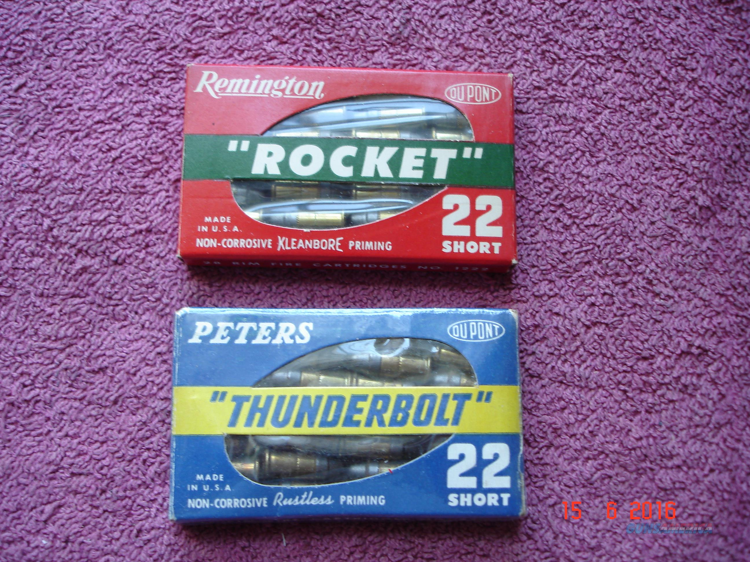 Rare Vintage .22Short Remington Rocket and Peters Thunderbolt  Full  28 Ctg. packages  Non-Guns > Ammunition