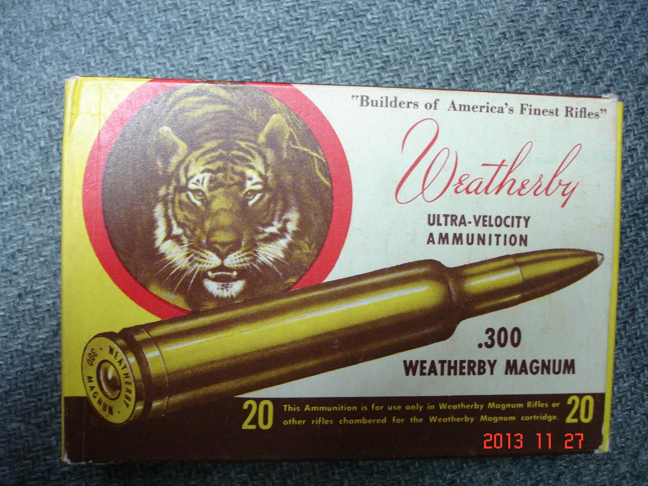 .300 Weatherby Mag.  Vintage Tiger Box  Non-Guns > Ammunition