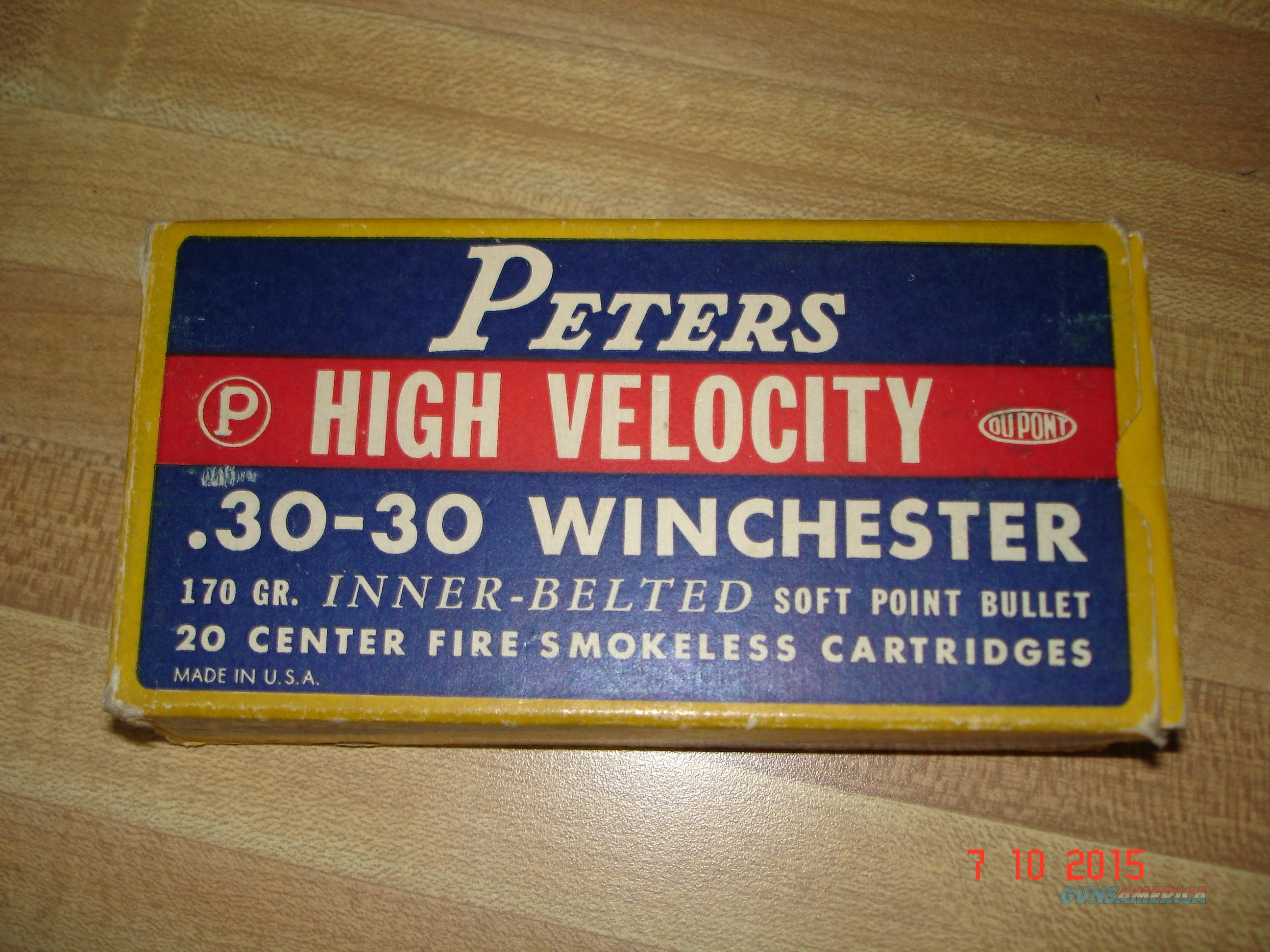 Vintage Peters 30/30 Win. 170Gr soft Point Full box  Non-Guns > Ammunition