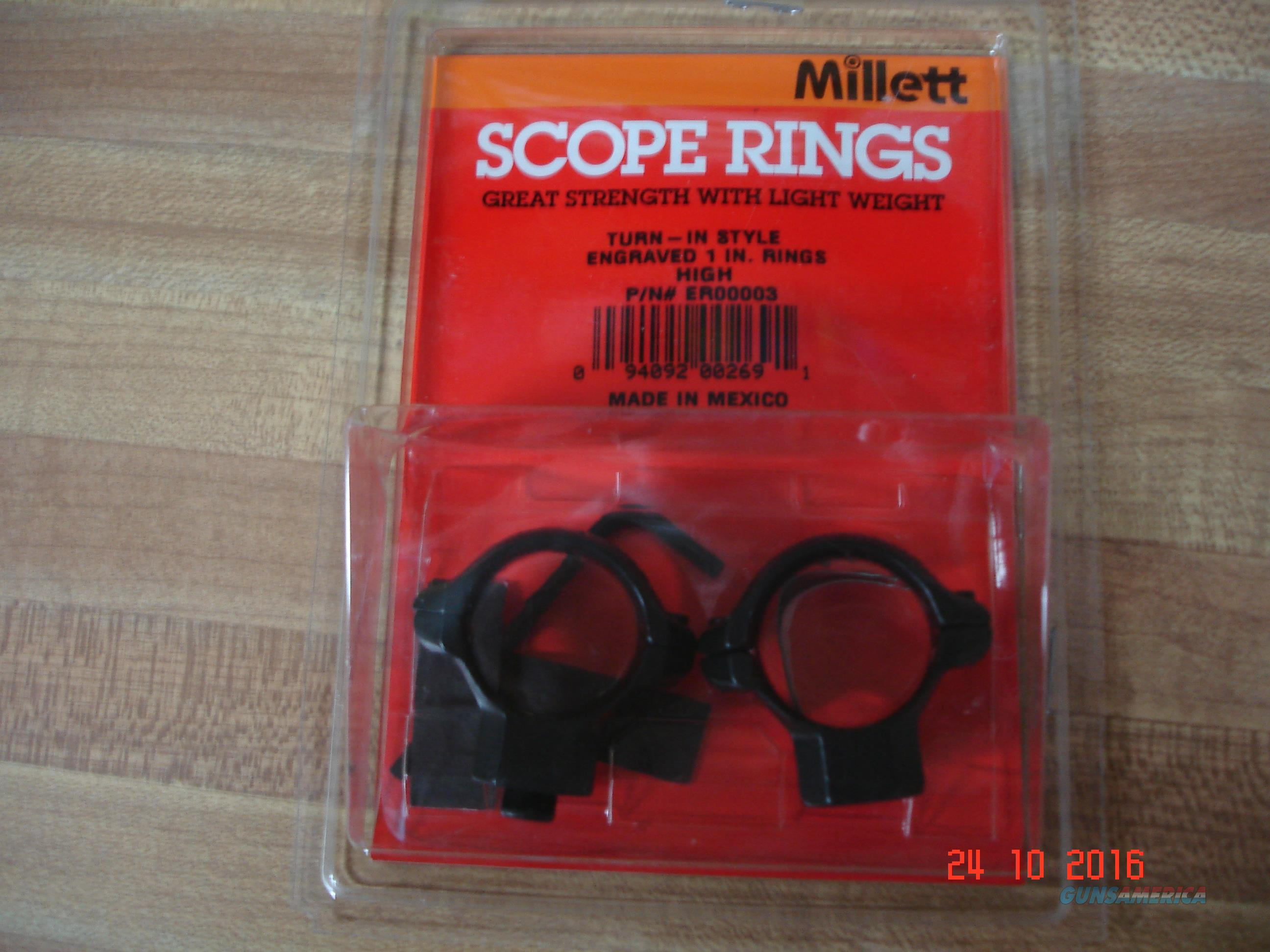 "Millet 1"" Engraved High turn in Rings,Will Fit Leupold,Burris Redfield Bases  Non-Guns > Scopes/Mounts/Rings & Optics > Mounts > Other"