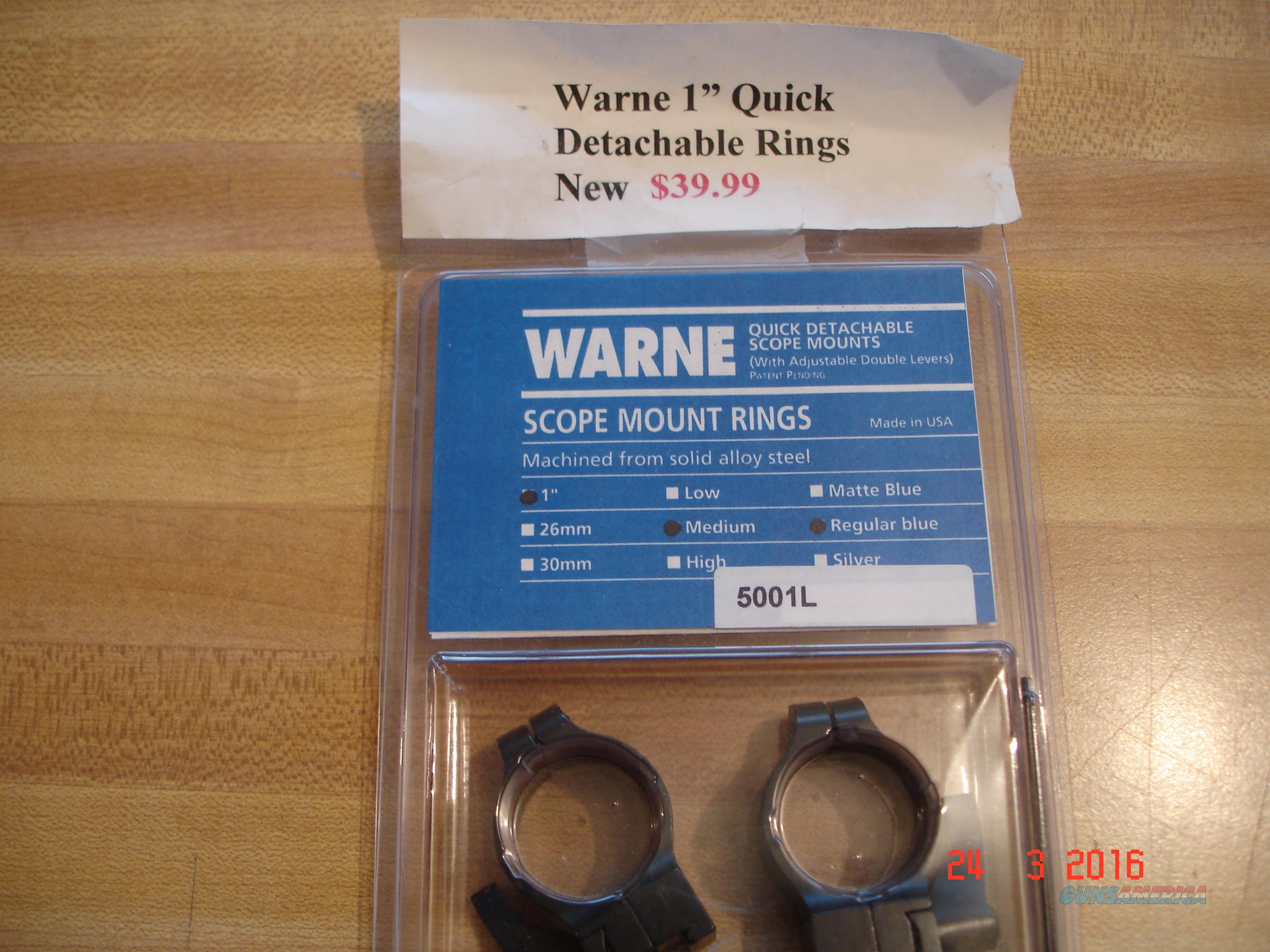 "Warne 1"" Quick DetachableScope Rings NIB  Non-Guns > Scopes/Mounts/Rings & Optics > Mounts > Other"