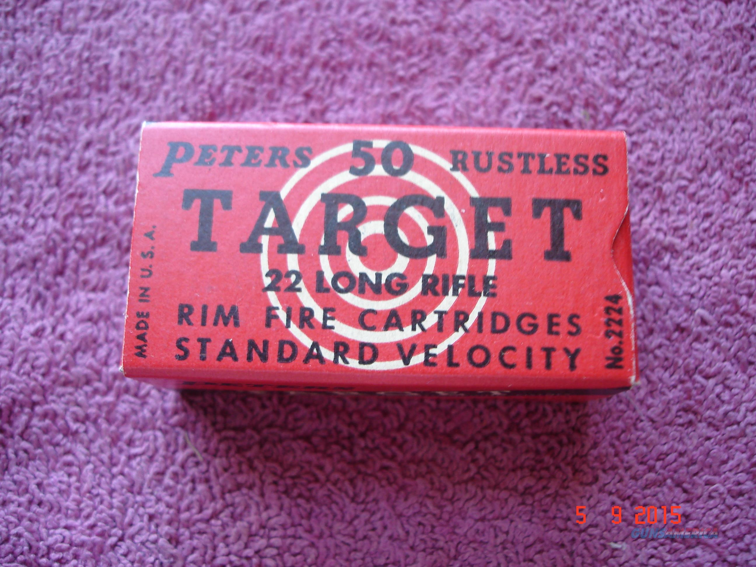 Vintage Peters  TARGET .22Lr Ctgs. Full Box  Non-Guns > Ammunition