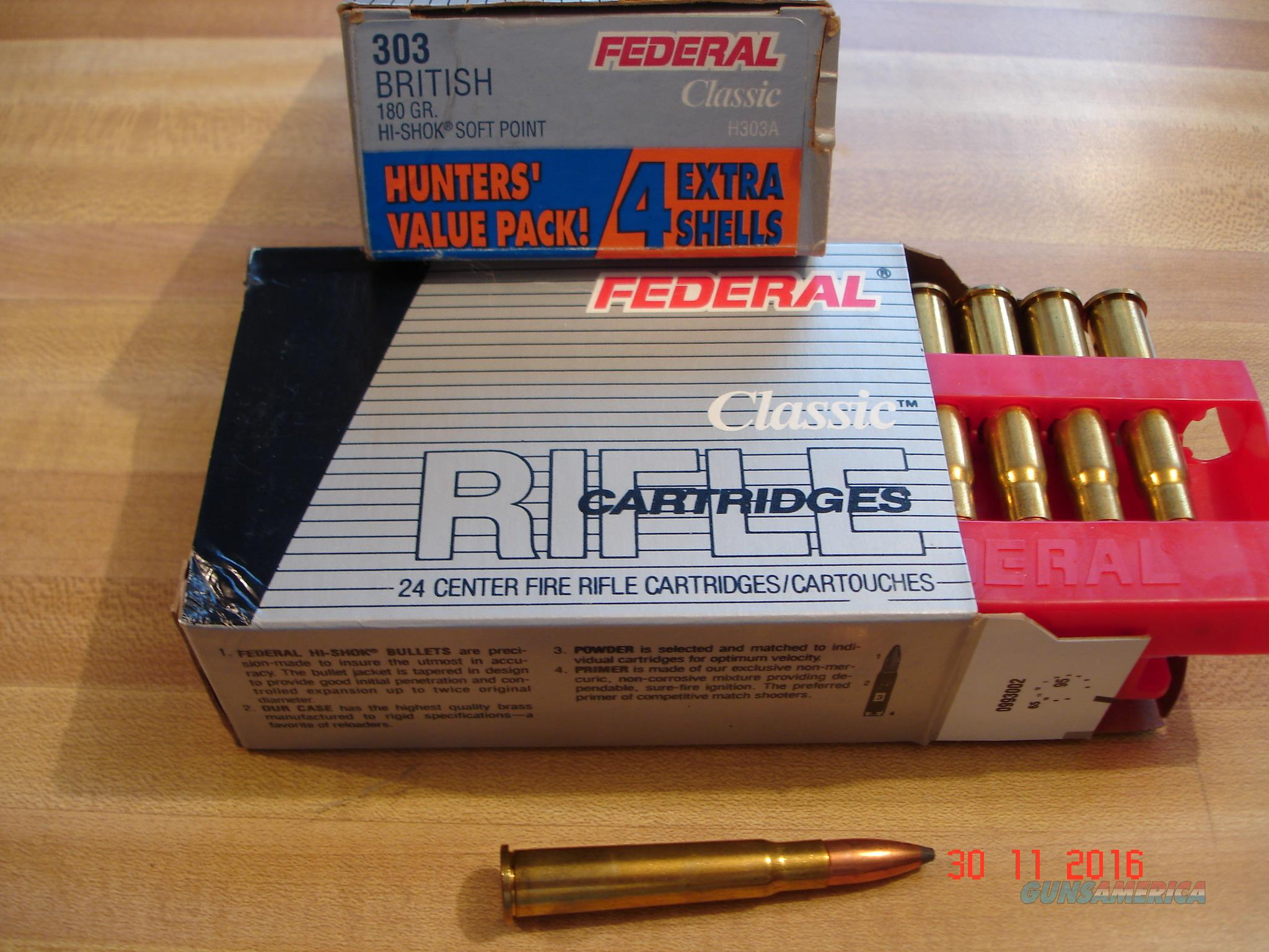 Federal Classic .303 British 180 Gr.HI-Shok Soft point Box of 24 Ctgs.  Non-Guns > Ammunition